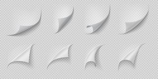 Curled page corner. Folded and rolled paper corner set isolated on transparent background. Vector white curling book