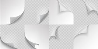 Free Curled Page Corners. Flipped And Turning Paper Page Set On Transparent Background. Vector Folded Or Turn-up Book Page Stock Photography - 162838742