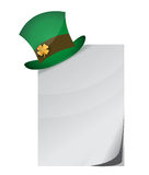 Curled page and St. Patrick's Day hat with clover Stock Image