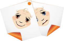 Curled pages with cartoon facial expressions Royalty Free Stock Image