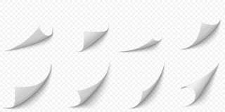Curled paper corners. Curve page corner, pages edge curl and bent papers sheet with realistic shadow vector illustration