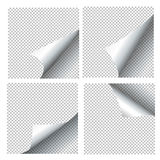 Curled paper sheets. Page curls set vector illustration Stock Images
