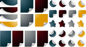 Curled papers. Set of curled pages, Bended paper sheet corners with realistic shadows Royalty Free Stock Photo