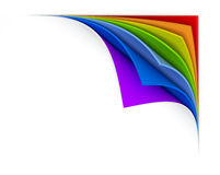 Curled  rainbow paper Stock Image