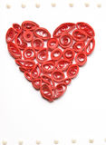 Curled red heart made from paper Royalty Free Stock Image