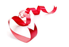 Curled red holiday ribbon stock photos