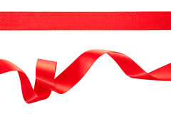 Curled red ribbon. Red ribbons isolated on white, clipping path included Stock Photo