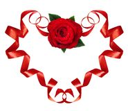 Curled red silk ribbons in a hart shape with rose flower for Val Stock Images