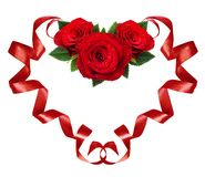 Curled red silk ribbons in a hart shape with rose flowers arrangement for Valentine's Day. Isolated on white background royalty free stock photography