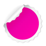 Curled round pink sticker Royalty Free Stock Photos