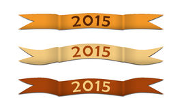Curled strips 2015. Gold colored curled strips for celebrating of the happy new year 2015. Vector illustration vector illustration