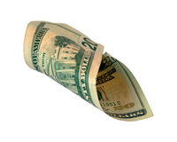 Curled Twenty Dollar Bill Royalty Free Stock Images