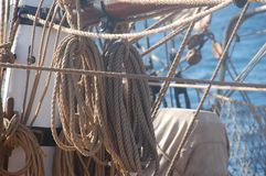 Detail view of running rigging on an ancient sailing ship royalty free stock photo
