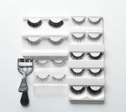 Curler and false eyelashes. On white background royalty free stock image