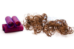 Curler with hairpiece. On white background Stock Photography