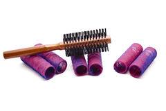 Curler with wooden Hairbrush Royalty Free Stock Image
