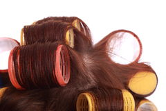 Curlers in hair Royalty Free Stock Photography