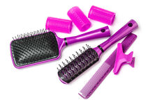 Curlers with hairbrush Stock Images