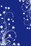Curles floreali bianchi su priorità bassa blu Immagini Stock
