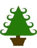 Curley Green Christmas Tree in Brown Pot Stock Image