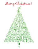 Curlicue Christmas Tree Greetings Stock Photo