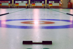 Curling. Indoor curling rinks in sports center, edmonton, alberta, canada Royalty Free Stock Image