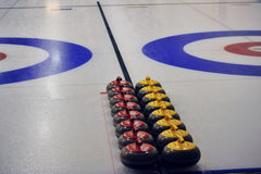 Curling. Indoor curling sheets in a sports center, edmonton, alberta, canada Royalty Free Stock Photography