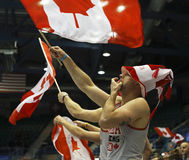 Curling Canada Fans Flag Waving Royalty Free Stock Photography