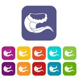 Curling and cracking wave icons set Stock Photo