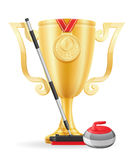 Curling cup winner gold stock vector illustration Royalty Free Stock Photography