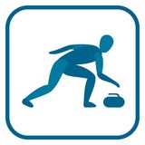 Curling emblem. Two color. Icon of the player. One of the pictogram from winter sports icons set. Vector illustration EPS-8 Royalty Free Stock Image