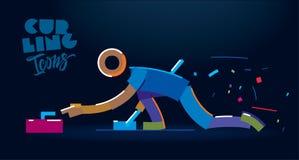 curling Engrana el icono ilustración del vector
