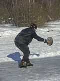 Curling on the frozen lake. Curling on a frozen lake -  popular sport in winter time Royalty Free Stock Images