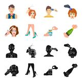 Curling hair, high heels and other web icon in black,cartoon style. A pack of cigarettes, a bottle of champagne in hand. Curling hair, high heels and other  icon Royalty Free Stock Photos