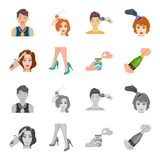 Curling hair, high heels and other web icon in cartoon,monochrome style. A pack of cigarettes, a bottle of champagne in. Curling hair, high heels and other  icon Stock Photography
