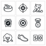Curling icon set Stock Image