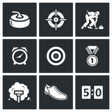 Curling icons set. Vector Illustration Stock Images