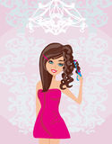 Curling iron and hair stock illustration