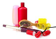 Curling irons, curlers and comb Stock Photo