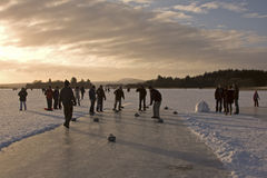 Curling on the Lake of Menteith Stock Images