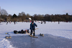 Curling on the Lake of Menteith. EDITORIAL, 10/01/2010, Curling on the Lake of Menteith Stock Image