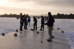 Curling on the Lake of Menteith Royalty Free Stock Photography