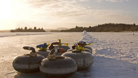 Curling on the Lake of Menteith. EDITORIAL, 10/01/2010, Curling on the Lake of Menteith Stock Photo