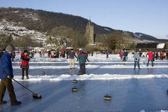 Curling on the Lake of Menteith Stock Photos