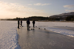 Curling on the Lake of Menteith Royalty Free Stock Photos
