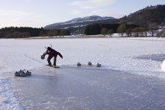 Curling on the Lake of Menteith. EDITORIAL, 10/01/2010, Curling on the Lake of Menteith Royalty Free Stock Photos