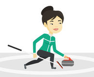 Curling player playing curling on curling rink. vector illustration