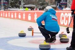 Curling player V. Telezhkin Stock Photography
