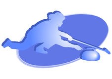 Curling player - Woman - blue icon Royalty Free Stock Photos