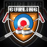 Curling red and yellow stones on target with crossed brush for curling in center of shield. Sport logo for any team. Or championship stock illustration
